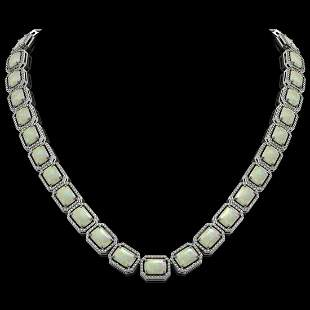 53.59 ctw Opal & Diamond Micro Pave Halo Necklace 10k