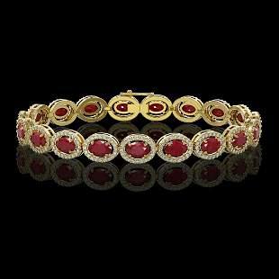 15.2 ctw Ruby & Diamond Micro Pave Halo Bracelet 10k