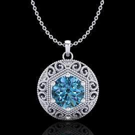 1.11 ctw Fancy Intense Blue Diamond Art Deco Necklace