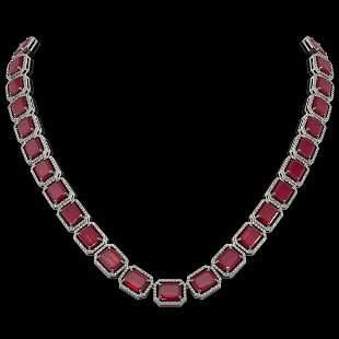 84.94 ctw Ruby & Diamond Micro Pave Halo Necklace 10k
