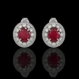8.84 ctw Certified Ruby & Diamond Victorian Earrings
