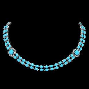 29.85 ctw Turquoise & Diamond Necklace 14K White Gold -