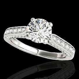 1.6 ctw Certified Diamond Solitaire Ring 10k White Gold