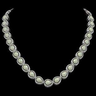 36.48 ctw Opal & Diamond Micro Pave Halo Necklace 10k