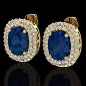 6.30 ctw Sapphire & Micro Pave VS/SI Diamond Earrings