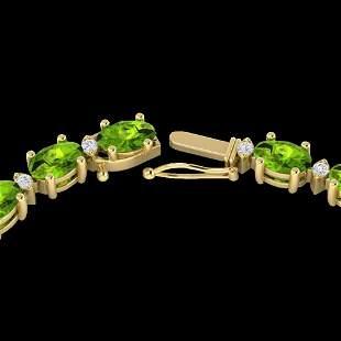 46.5 ctw Peridot & VS/SI Diamond Eternity Necklace 10k