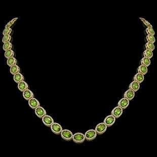 31.1 ctw Peridot & Diamond Micro Pave Halo Necklace 10k
