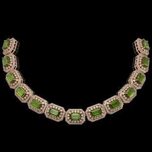 130.05 ctw Tourmaline & Diamond Victorian Necklace 14K