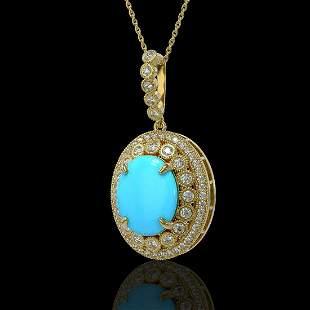 8.97 ctw Turquoise & Diamond Victorian Necklace 14K