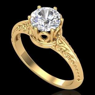 1 ctw VS/SI Diamond Art Deco Ring 18k Yellow Gold -