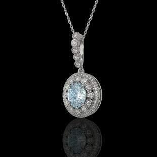 3.82 ctw Aquamarine & Diamond Victorian Necklace 14K