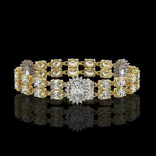 14.86 ctw Rare Oval Diamond Bracelet 18K Yellow Gold -
