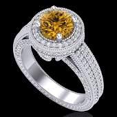 2.8 ctw Intense Fancy Yellow Diamond Art Deco Ring 18k