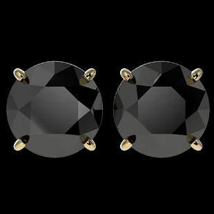 4 ctw Fancy Black Diamond Solitaire Stud Earrings 10k
