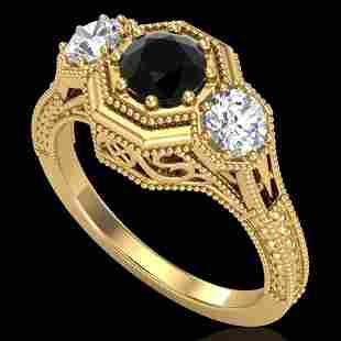 1.05 ctw Fancy Black Diamond Art Deco 3 Stone Ring 18k
