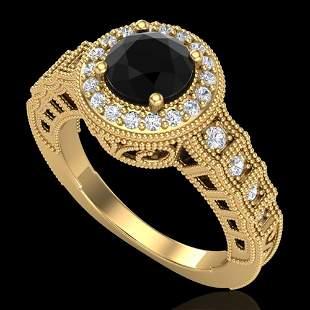 1.53 ctw Fancy Black Diamond Engagment Art Deco Ring