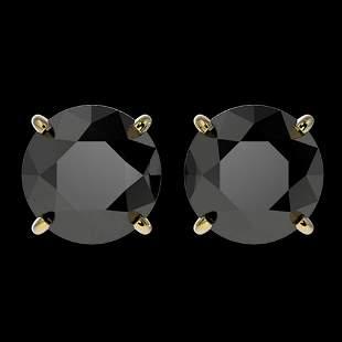 3 ctw Fancy Black Diamond Solitaire Stud Earrings 10k