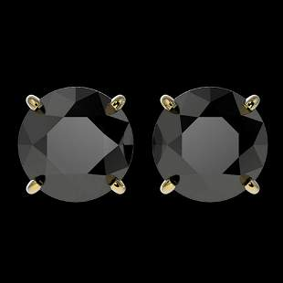 3.10 ctw Fancy Black Diamond Solitaire Stud Earrings