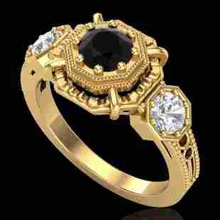 1.01 ctw Fancy Black Diamond Art Deco 3 Stone Ring 18k