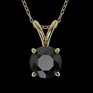 .75 ctw Fancy Black Diamond Solitaire Necklace 10K