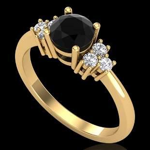1 ctw Fancy Black Diamond Engagement Ring 18K Yellow