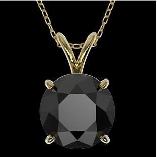 2 ctw Fancy Black Diamond Solitaire Necklace 10K Yellow