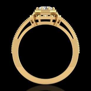 0.53 ctw VS/SI Diamond Art Deco Ring 18k Yellow Gold -