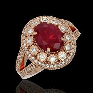 4.55 ctw Certified Ruby & Diamond Victorian Ring 14K