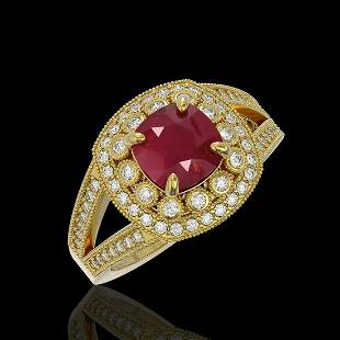 2.69 ctw Certified Ruby & Diamond Victorian Ring 14K