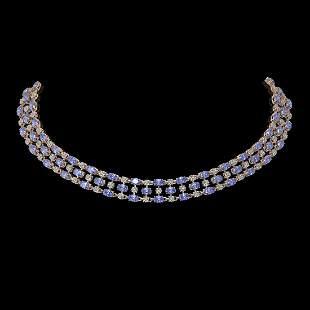 58.85 ctw Tanzanite & Diamond Necklace 10K Rose Gold -