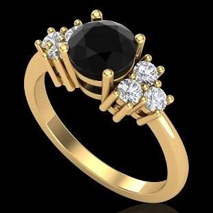 1.5 ctw Fancy Black Diamond Engagment Ring 18k Yellow