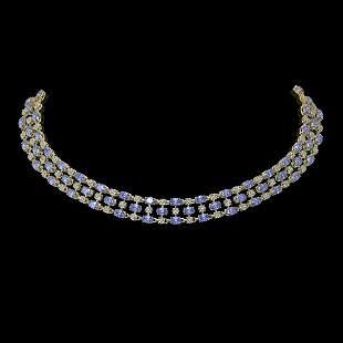 35.93 ctw Tanzanite & Diamond Necklace 10K Yellow Gold