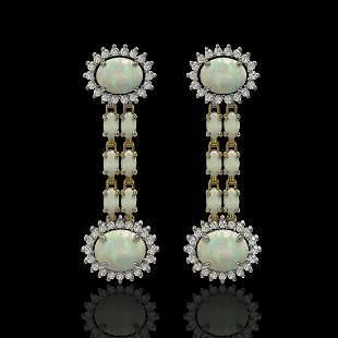 6.73 ctw Opal & Diamond Earrings 14K Yellow Gold -
