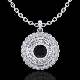 2.11 ctw Fancy Black Diamond Art Deco Stud Necklace 18k