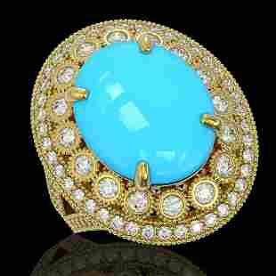 9.07 ctw Turquoise & Diamond Victorian Ring 14K Yellow