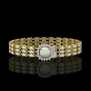 24.2 ctw Opal & Diamond Bracelet 14K Yellow Gold -