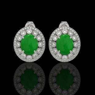 10.61 ctw Jade & Diamond Victorian Earrings 14K White