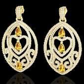 7 ctw Yellow Sapphire & Diamond Heart Earrings 18k