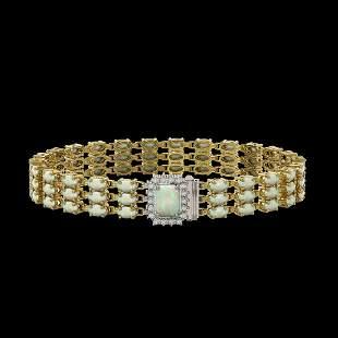 20.23 ctw Opal & Diamond Bracelet 14K Yellow Gold -
