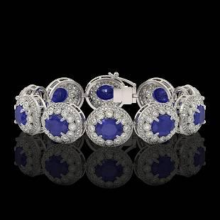 49.17 ctw Sapphire & Diamond Victorian Bracelet 14K