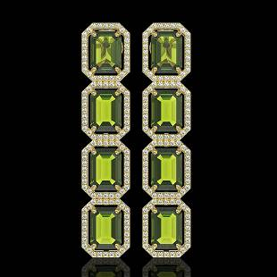 19.44 ctw Tourmaline & Diamond Micro Pave Halo Earrings