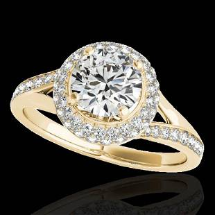 1.6 ctw Certified Diamond Solitaire Halo Ring 10k