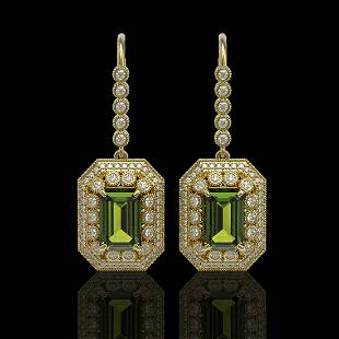 13.4 ctw Tourmaline & Diamond Victorian Earrings 14K