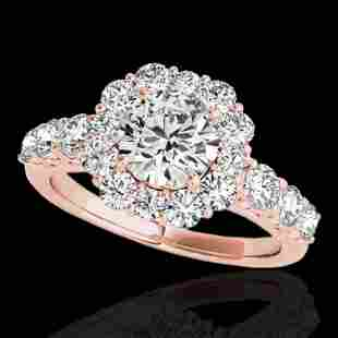 2.25 ctw Certified Diamond Solitaire Halo Ring 10k Rose
