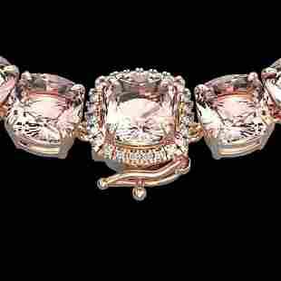 87 ctw Morganite & Diamond Micro Pave Necklace 14k Rose
