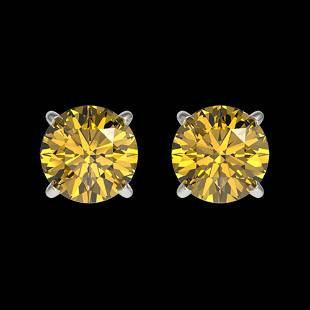 1.04 ctw Certified Intense Yellow Diamond Stud Earrings