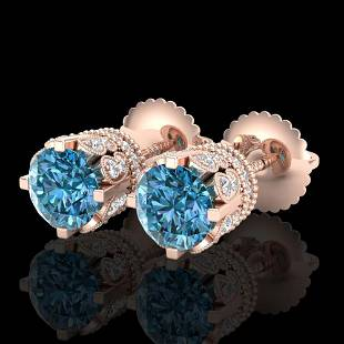 3 ctw Fancy Intense Blue Diamond Art Deco Earrings 18k