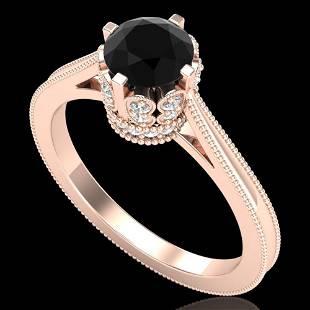 1.14 ctw Fancy Black Diamond Engagment Art Deco Ring