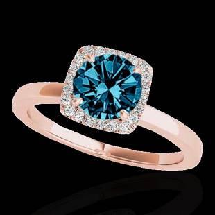 1.15 ctw SI Certified Fancy Blue Diamond Halo Ring 10k