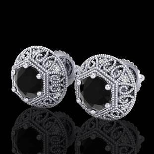 1.31 ctw Fancy Black Diamond Art Deco Stud Earrings 18k